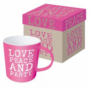 Love, Peace & Party pink - Kaffeetasse