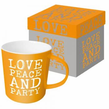 Love, Peace & Party orange - Kaffeetasse