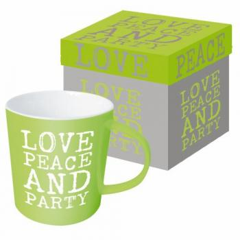 Love, Peace & Party green - Kaffeetasse
