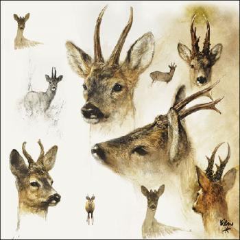 Portraits of Deer - Servietten 33x33 cm