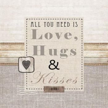 Love, Hugs & Kisses – Liebesservietten 33x33 cm
