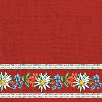 Bavarian Flowers red - Servietten 33x33 cm