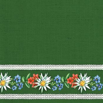 Bavarian Flowers green - Servietten 33x33 cm
