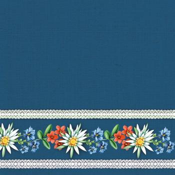 Bavarian Flowers blue - Servietten 33x33 cm