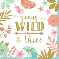 young, wild & three Birthday Girl Servietten 33x33 cm