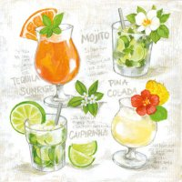 Four Cocktails Servietten 25x25 cm