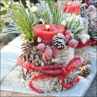 Frozen Candel red - Servietten 33x33 cm