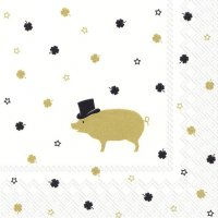 Mr. Pig Gold Servietten 33x33 cm