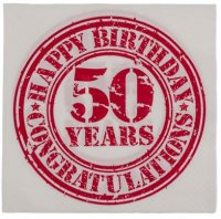 Vintage Look Happy Birthday Servietten 33x33 cm