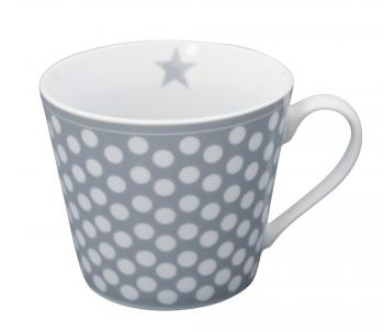 Grey Big dots – Happy cup Krasilnikoff Tasse