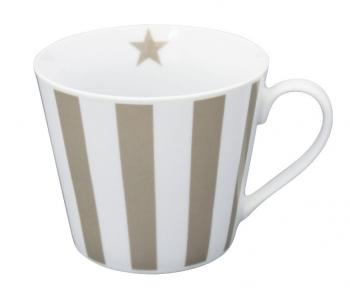 Taupe vertical stripes – Happy cup Krasilnikoff Tasse