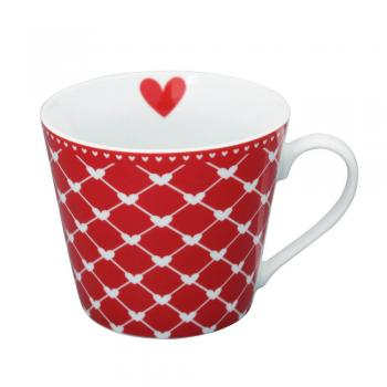 Red hearts diagonal – Happy cup Krasilnikoff Tasse