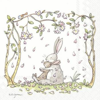 Blossoms and bunnies white – Servietten 33x33 cm