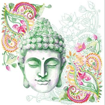 Buddha Head green – Servietten 33x33 cm