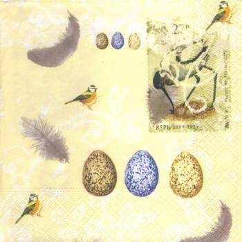 Eggs and feather yellow - Servietten 33x33 cm