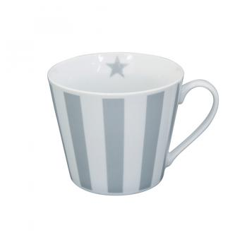 Grey vertical stripes – Happy cup Krasilnikoff Tasse