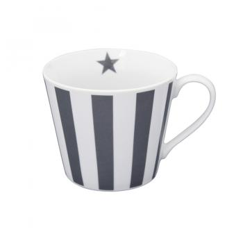 Charcoal vertical stripes – Happy cup Krasilnikoff Tasse
