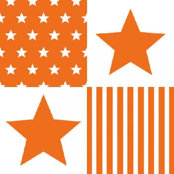 Star Stripes orange - Servietten 33x33 cm
